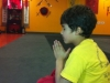 one of our young student meditating